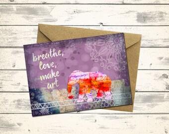 PRINTABLE Elephant Greeting Card - Original Collage - Blank greeting card - Birthday card - Elephant card -  Whimsical - Altered Art Card