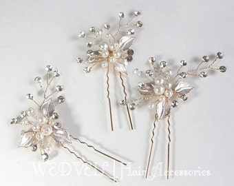 Pearl Hair Pin, with Crystals