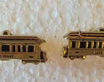 Vintage Souvenir Trolley Car Cufflinks - Lake Dewey Kentucky