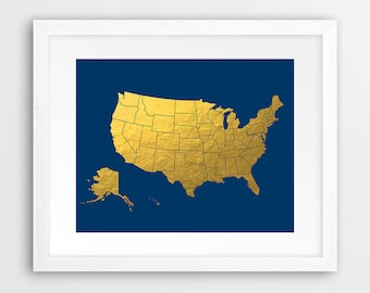 USA Map Print, United States Map Wall Art, USA Map Silhouette Gold Foil And Navy Blue, Gold Print, Navy Decor, Modern Wall Art Printable Art