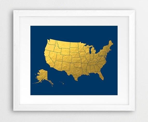 USA Map Print United States Map Wall Art USA Map Silhouette - Gold distribution map us
