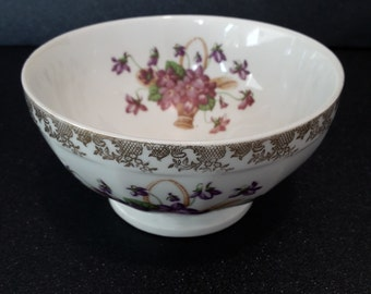 vintage french porcelain bowl with flowers and gilts, french dish