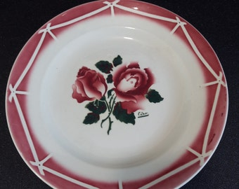 Vintage French ceramic Sarreguemines plate, french dish