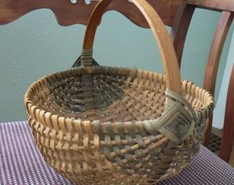 Vintage Woven Wicker Basket with Round Bottom; Split Reed Woven Basket