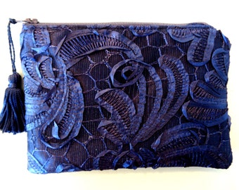 Blue Lace Clutch, Navy Clutch, Blue Clutch, Brides Purse, Bridal Clutch, Evening Bag, Bridesmaid Gift, Lace Purse, Navy Blue Purse