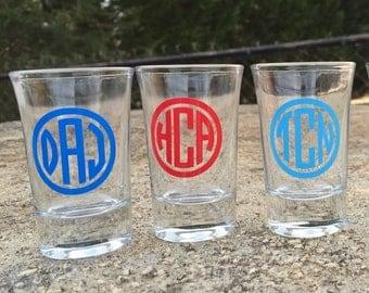 Monogrammed shot glasses