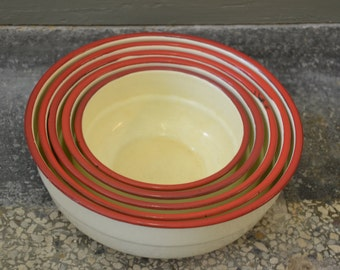 Enamel Bowl Set, cream couloured, red top.