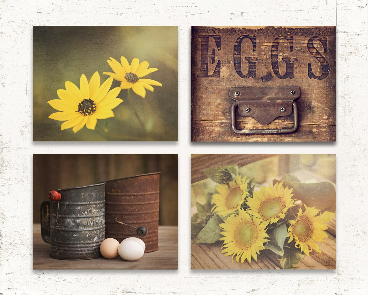 Country Kitchen Decor Rustic Kitchen Wall Decor Set Of FOUR
