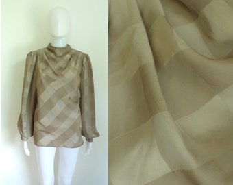 55%OFF July25-28 80s sheer blouse size xl, brown checkered top, womens button down shirt, preppy plaid top, 1980s shirt, secretary work top
