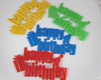 Set of 10 Happy Birthday  plastic cake decoration