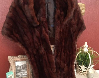 Vintage 1950's - 60s  Mink Stole and matching Hat