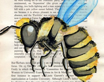 Honey-bee Watercolor Print on a book page background