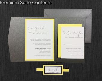 Gray Yellow Wedding Invitations, Modern Yellow And Grey Wedding,  Calligraphy Elegant Wedding Invitation,