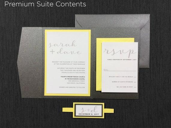 Yellow Grey Wedding Invitations: Gray Yellow Wedding Invitations Modern Yellow And Grey