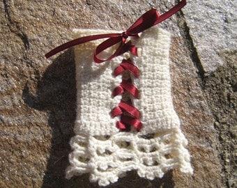 Corset Wrist warmers manchette crocheted arm warmers knitted crochet wool alpaca lace steampunk victorian wedding bridal cuffs satin ribbon