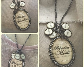 Custom oval glass pendant necklace with optional name charms CUSTOMOVALBRONZESCRIPT