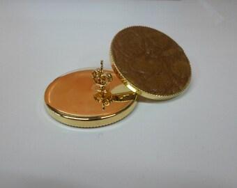 Crocodile leather button earrings