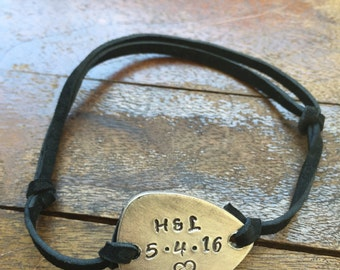 Personalized Date Initials Heart - Antique Distressed Brass Guitar Pick Hand Stamped Bracelet Natural Black Leather Cord Adjustable 6""
