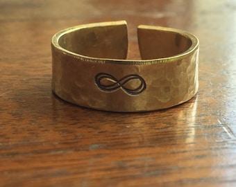 "Infinity Symbol - 1/4"" Single Wrap Pebbled Texture Artisan Handmade Custom Jewelry Sizes 3-14 Copper Brass Silver Aluminum"