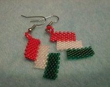 """Beaded Red Green and White Peyote """"Shingle"""" Earrings"""