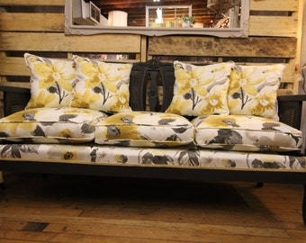 1930s Tomlinson Art Deco Cane Sofa, reupholstered/painted, Local Alexandria VA Pick Up Only