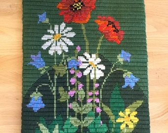 Colorful Vintage Swedish Embroidery | Wall Hanging | Floral Long Stitch Needlepoint | Wildflowers Daisy Poppy Harebell