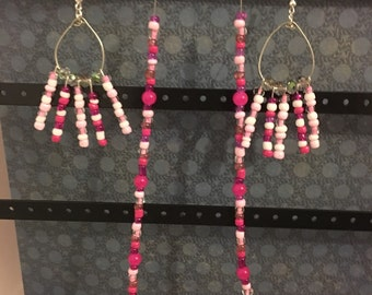 Pink and White Dangle Earrings with necklace