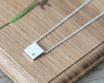 White Square Necklace 925 Sterling Silver Minimalist Dainty Jewelry