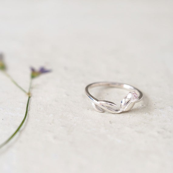 pink tulip ring 925 sterling silver flower dainty jewelry
