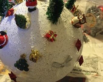 Christmas balls with handmade miniatures