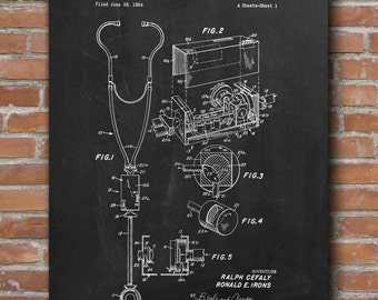 Acoustic Stethoscope Patent, Stethoscope Print, Medical Art, Patent Poster - DA0623