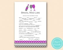 Advice for the bride mad libs, bridal mad libs, Purple Wine Theme Bridal Shower Game Pack, Winery Wedding Shower Game BS146