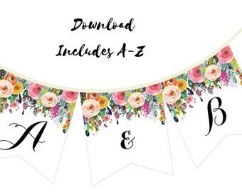Printable Bridal Shower Banner, Floral Banner, Floral Wedding Banner, Floral Baby Shower Banner BS402 TLC402 TLC140 bs138