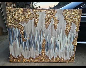 Abstract gold leaf painting