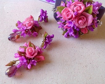 bracelet  flowers,pink roses,purple lilacs,flowers earrings,polymer clay,bracelet made of polymer clay,leather bracelet,handmade,jewelry set