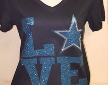 Love Dallas, Dallas Cowboys, Football, Cute shirt for women, Glitter Tshirt, Football fan, Gift for her,  Tailgate tshirt