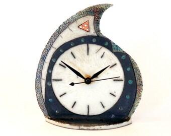 Raku ceramic table clock #4