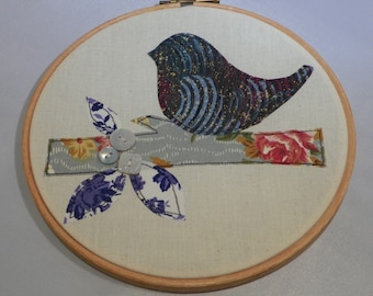 Make Your Own Applique Picture Kit - Stitch a Bird on a Leafy Branch with Button Embellishment