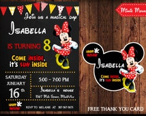 Minnie Mouse Invitation, Minnie Mouse Invitation Chalkboard, Minnie Mouse Clubhouse Invite, Minnie Mouse Birthday Party. Free Thank You Card