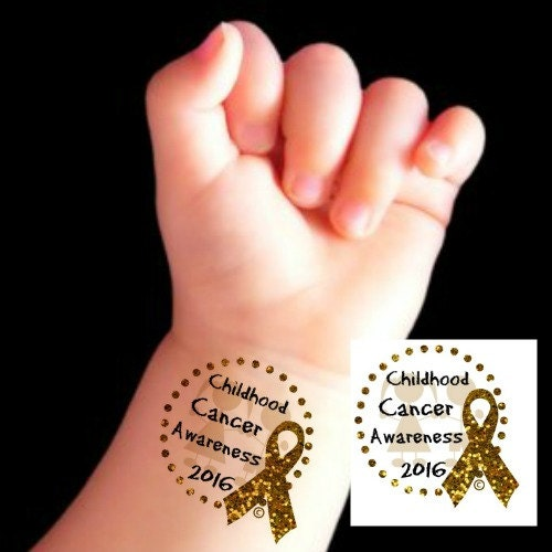 Temporary tattoos 2 national childhood cancer by for Gold ribbon tattoos
