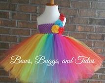Rainbow tutu dress, Clown tutu dress, tutu for toddler, birthday tutu dress, smash cake tutu, smash cake outfit, infant tutu, rainbow tutu