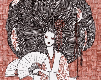 Hair Envy Made to Order Giclee Square Illustration/Art Print, Multiple Sizes Available