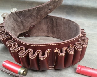 Leather Bandolier, custom, genuine leather, bandolier belt, Bullet belt, shotgun ammo belt