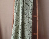 Clearance Sale Vintage Afghan Blanket, Crochet Knit Blanket, Vintage Afghan Throw Blanket, Light Green Vintage Afghan, Vintage Knit Blanket