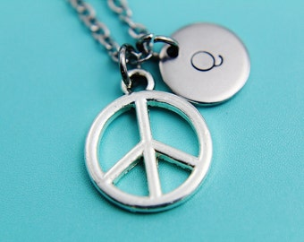 Silver Peace Sign Charm Necklace, Silver Peace Charm Necklace, Peace Sign Necklace, Peace Necklace, Peace Pendant, Gifts for Her under 30