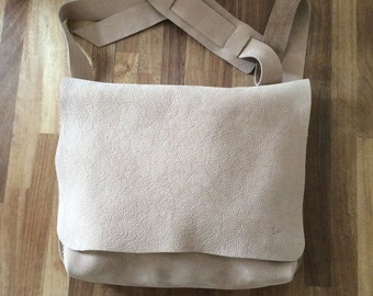Leather Messenger Bag / Shoulder bag/ Natural messenger bag/ Bike bag nobuck/ Leather laptop bag/ Office bag/ Macbook bag