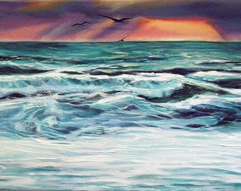 The wave, great Surfers'love , turns into a woman's body.  46x27cm sunset on the waves, Oil on canvas non framed painting.