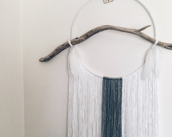 Modern Dream Catcher - Giant - Large - Custom Made - Bespoke - Driftwood - Wool - Scandinavian - Bohemian - Feathers - Dream Weaver