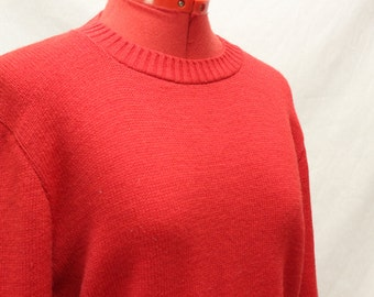 Vintage 1980's Bright Red Knit Sweater/Long Sleeves/Size Medium/Christmas/Holiday/Mod/Secretary/Nerd/Geek/Waldorf/Preppy/Ms. Casuals/Career