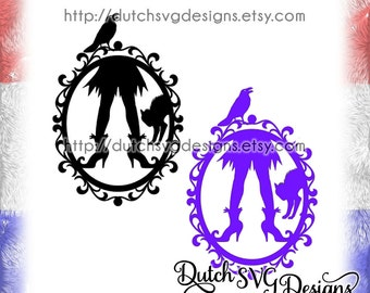 Halloween frame cutting file with decorated border and witch legs, in Jpg Png SVG EPS DXF for Cricut & Silhouette, cat swirls swirly curly
